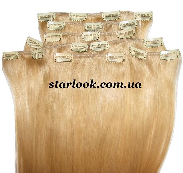 Набор натуральных волос на клипсах 50 см оттенок №24 160 грамм