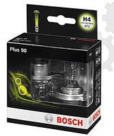 Лампа галогенная BOSCH H4 Plus 90% 12V 60/55W, 2 шт, 1987301074