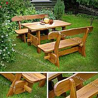 Садовая мебель из цельного дерева, уличный стол с лавками для дачи