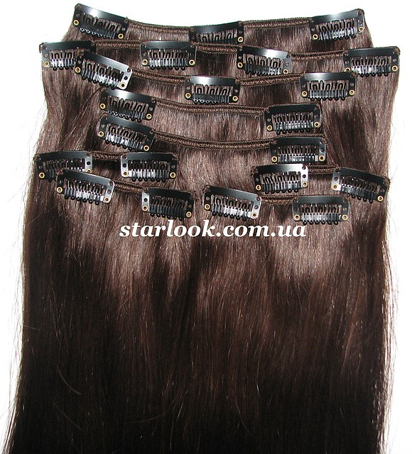Набор натуральных волос на клипсах 50 см оттенок №2 160 грамм