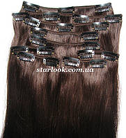 Набор натуральных волос на клипсах 52 см. Оттенок №2. Масса: 130 грамм.