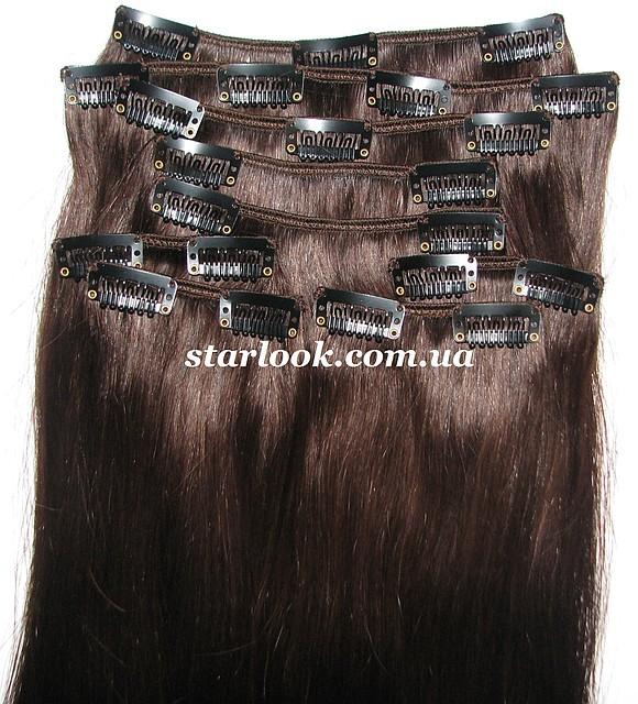 Набор натуральных волос на клипсах 50 см оттенок №2 160 грамм, фото 1