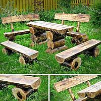 Садовая мебель из бревен, деревянный стол и скамейки на дачу