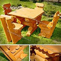 Дачная мебель из сруба, деревянный стол и стулья из бревен