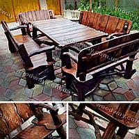 Стол и лавочки из массива дерева, уличная мебель для дачи
