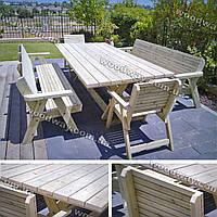 Деревянные лавки и стулья для улицы в комплекте с столом для дачи