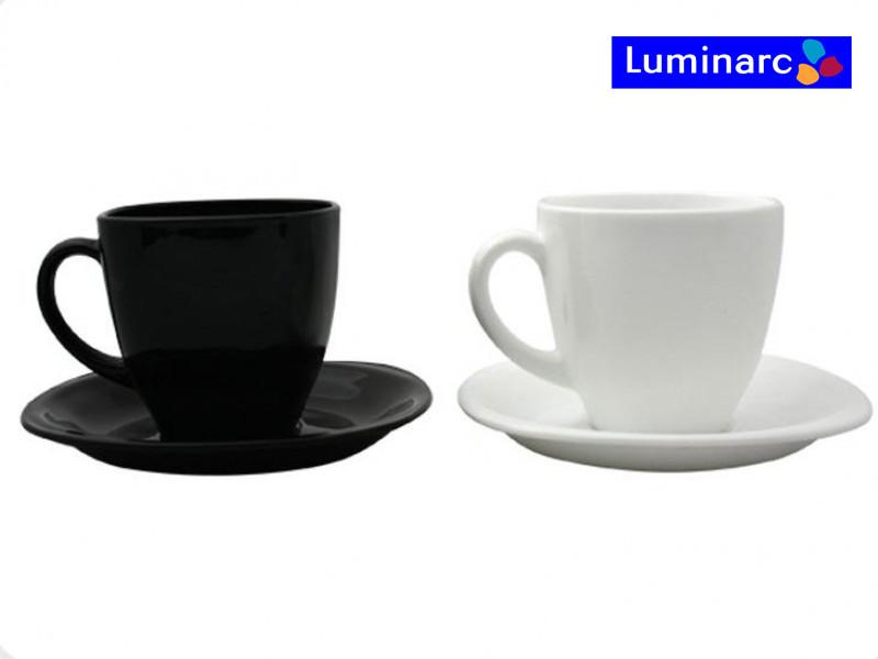 Набор чашек 220мл с блюдцами 6шт Carine Black&White Luminarc