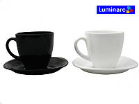 Набор чашек 220мл с блюдцами 6шт Carine Black&White Luminarc, фото 1