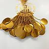 Стеклярусные нити с пайеткой, цвет Gold, длинна 10см (10штук)