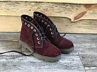 Ботинки из натурального бордовго замша №403-2, фото 1