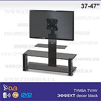 Тумба из стекла под телевизор с кронштейном Эффект Decor Black (1050х420х1050)