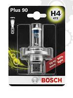 Лампа галогенная BOSCH H4 Plus 90% 12V 60/55W, 1 шт, 1987301077