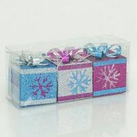 """Ёлочная игрушка """"Подарок"""" 0851 (168) 3 шт в слюде"""