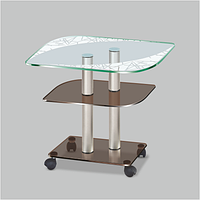 Журнальный столик из стекла Bravo F art cbb/chr(650х450х520)