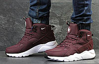 Мужские ботинки Nike Air Huarache Winter (бордовый), ТОП-реплика, фото 1
