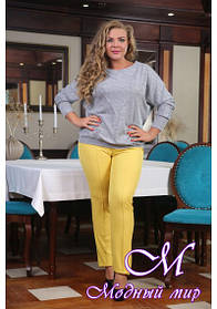 Желтые женские брюки большого размера (р. 48-90) арт. Яна