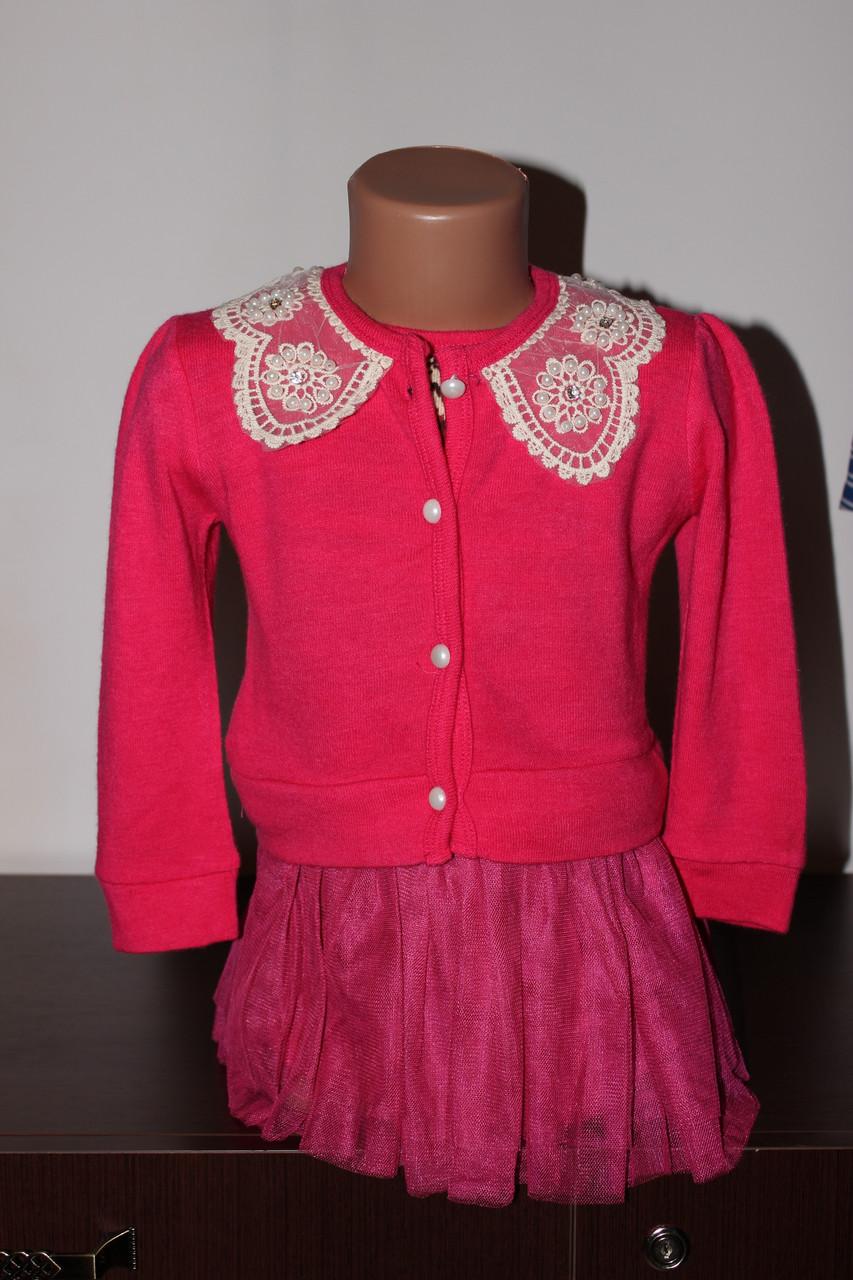 Платье розовое теплое для девочки с фатиновой юбкой Размер 116 см