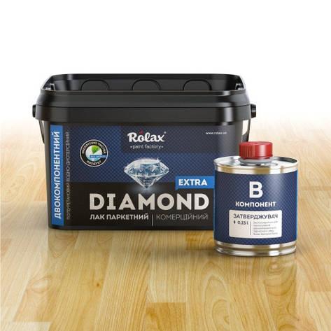 """Лак паркетний Diamond Extra"""" на пів матовий 2,5 л. акриловий Ролакс, фото 2"""