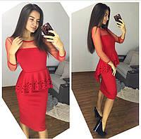 Платье оригинальное с отделкой сетка и перфорация