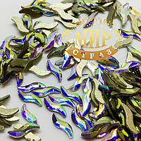 Стразы для инкрустации (стекло), цвет Crystal AB, размер 2х9мм, цена за 1шт.