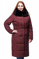 Зимнее бордовое пальто с высоким воротником-капюшоном
