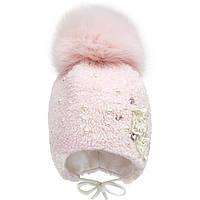 Теплая розовая шапка для девочки с песцовым помпоном