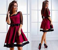 Платье женское ткань габардин отлично сидит!!!! цвета:электрик,красный,бордо, чёрный нвин№242-280