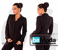 Стильный женский пиджак на подкладе оригинального фасона черный