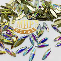 Стразы для инкрустации, цвет Crystal AB, размер 3х11 мм, цена за 1шт