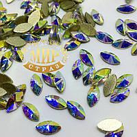 Стразы для инкрустации, Лодочка, цвет Crystal AB, размер 4х8 мм, цена за 1шт