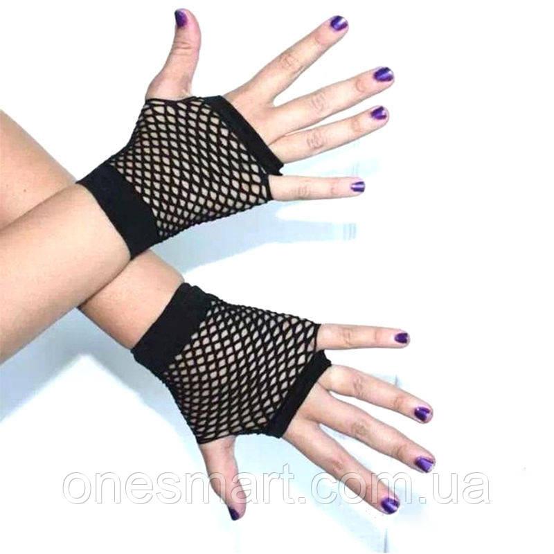 Перчатки в сетку без пальцев черные