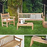 """Комплект садовой мебели из дерева, уличный стол с креслом и скамейкой, новая коллекция """"Stylish OUTDOOR"""""""