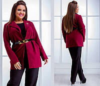Пиджак Турецкая стрейч костюмка ,цвет:т.синий, чёрный,бордо,красный.,в комплекте брошь и ремень нвин№334