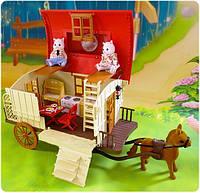 Карета - дом с фигурками и мебель Happy Family ( аналог Sylvanian Families)  012-05