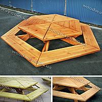 Круговая лавочка со столом из дерева для сада, парка или уличного кафе