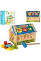 Развивающая деревянная игрушка Домик, стучалка,сортер