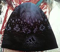 "Шапка мужская ""Adidas 2"" трикотаж на флисе"