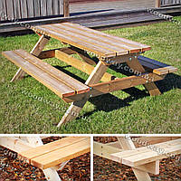 Деревянный стол с лавочками для сада, мебель из дерева для дачи