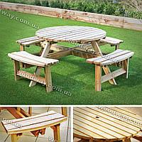Стол с лавками в беседку, мебель из дерева для сада или уличного кафе