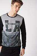 Черный мужской свитшот De Facto/ Де Факто с надписью на груди Los Angeles
