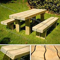 Садовый стол из бруса с лавочками для дачи, деревянная мебель для сада