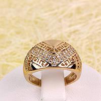 R1-2713 - Позолоченное кольцо с прозрачными фианитами, 16 р