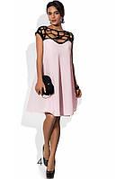 Платье с переплетеным декольте розовое