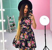 Женское джинсовое цветочное платье в стиле беби дол.