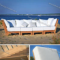"""Уличный диван для сада в составе которого садовые кресла из дерева, коллекция """"Stylish OUTDOOR"""""""