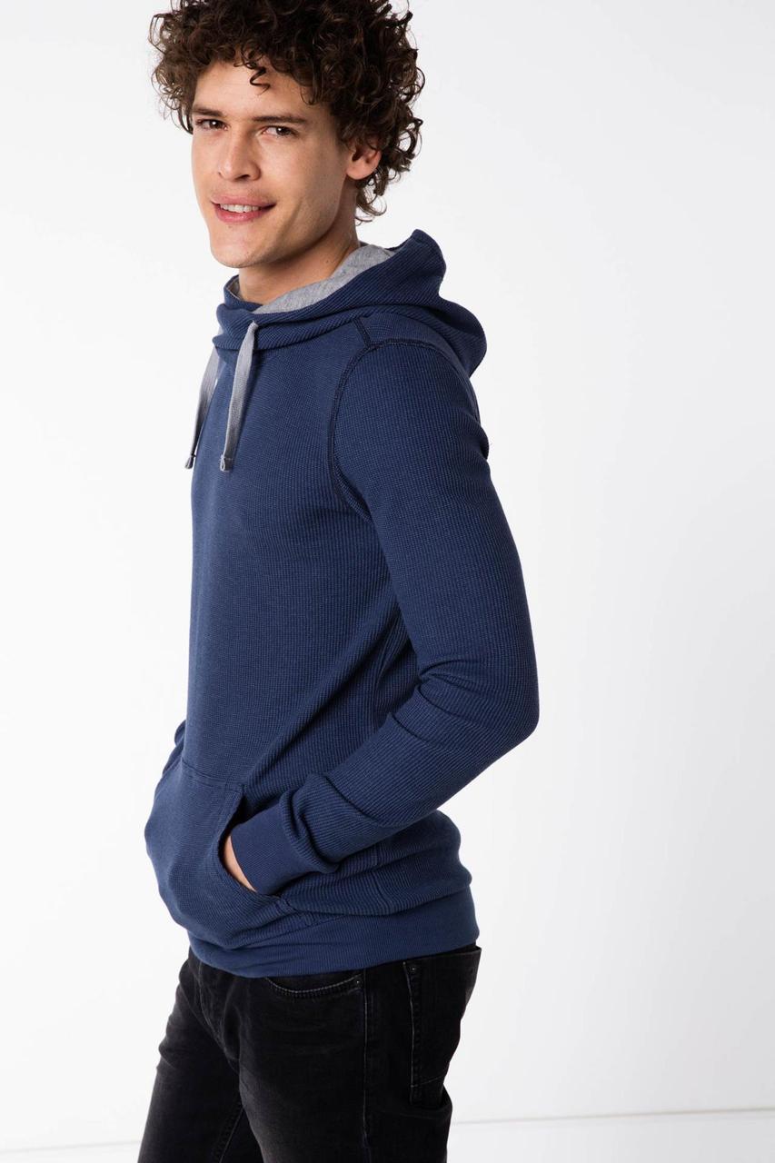 Синий мужской свитшот De Facto/ Де Факто с капюшоном