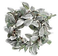 Новогодний венок из листьев в инее, размер 55 см, рождественский венок