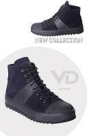 Ботинки мужские сине-черные 100% кожа, VD one