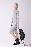 Приталенное женское вязаное платье
