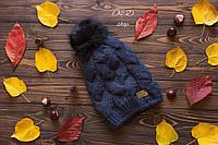 Теплая шапочка UGG (утеплена флисом), бомбон натуральный песец, цвет темно синий